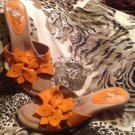 Soft Style Hush Puppies SZ 7.5W Women's Orange Heel Sandals W/ Flower MRSP $45