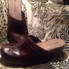 "NATURALIZER Women's Brown Leather Clog Split Toe Mules ""Learn"" 2 1/2"" Heels 7M"