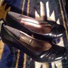 GEORGE WOMEN'S BLACK KITTEN Heels SHOES PUMPS SZ 9M COMFORT CASUAL LOW CAREER