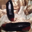 TRUE VINTAGE JAZZ MADE IN SPAIN BLACK SUEDE W/CROC TOE FLAT SHOES 6.5N MRSP $90