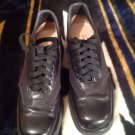 SALVATORE FERRAGAMO Sport Womens Shoes Black LEATHER & CANVAS LACE Oxford 7AAAA