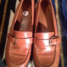 Predictions Womens Size 6.5M Brown Leather Loafers,Low Heel Pump Shoes w/ Buckle