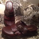 UNLISTED BROWN LEATHER SLIDE MULE SANDALS SHOES WOMEN'S 9M RUFFLED BAND MRSP $77