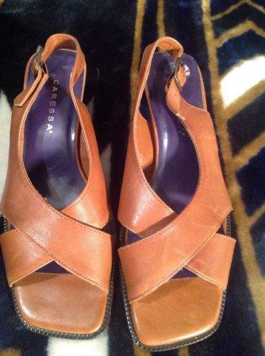 CARESSA Omega Shoe Sz 7.5M Women's Caramel Leather Slingback Strappy Criss Cross