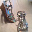Womens Faded Glory Silver T Strap Cork Wedge Heels Shoes W/Stones Store Display