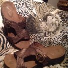 Easy Street Women's Comfort Weave Conceal Flat Sandals SHOES BROWN SZ 7M
