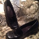 Liz Claiborne-PAULA-Patent Leather Loafers Shoes Embossed Croc Sz 7.5 M BLACK