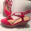 Unisa UNORALEE Women's Hot Pink Patent Open Toe  Platform Wedge Heels Sandals 6M