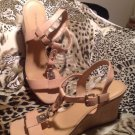 ANTONIO MELANI WOMENS SZ 9M LEATHER SHOES SANDALS TAN W/GOLD METAL WEDGE HEELS