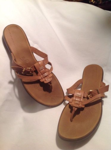 Women's Azaleia Brown Genuine Leather Wedge Thong Sandals US SZ 9.5M MRSP $48
