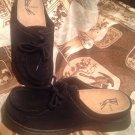 WHITE MOUNTAIN DREAM BLACK SUEDE OPEN COMFORT SLIP-ON LACE UP 8M MULES SHOES