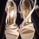 New Cupid Beige Women High Heel Shoes Peep Toe Stillettos Platform Sandals Sz 9M