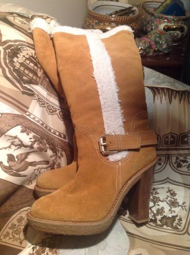 """7.5 Michael Kors Camel Beige Suede Leather 4"""" Shearling Tall Pull On Fur Boots"""