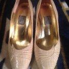 J RENEE Womens Faux Tan Snakeskin Pumps Heels Sz 7.5 M Shoes Point Toe MRSP $89