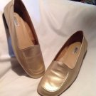CALICO WOMEN'S GOLD FLAT LEATHER LOAFER STYLE SHOES 9.5M COMFORT & STYLE NICE