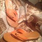 ITALIAN SHOEMAKERS ITALY WOMEN'S ORANGE BROWN Mock Wedge Thong Sandal Shoe 9.5M