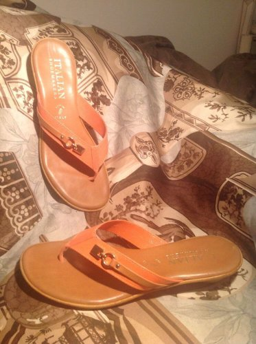 ITALIAN SHOEMAKERS ITALY WOMEN'S ORANGE BROWN Mock Wedge Thong Sandal Shoe 9.5M