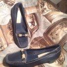 LIZ CLAIBORNE FLUTTER FLEX NAVY BLUE SQUARE TOE BURLAP ACC Leather Loafers SZ 7M