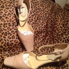 "Women's LIZ CLAIBORNE BOBBI Beige Leather Pumps 1.5"" Heels Sz 8M ANKLE STRAPS"