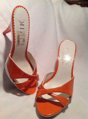 MIXIT ORANGE & WHITE CRISS CROSS Pumps Heel Womens Shoes Sandals SZ 8M MRSP $60