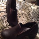 Merona BROWN Leather Women's Size 11M Sturdy Heel Ankle Boot Slip On Shoe