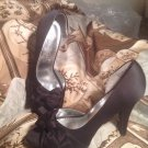 "MICHAELANGELO ""MARIBELLE"" WOMEN'S BLACK SATIN PUMPS SHOES OPEN TOE FORMAL BRIDE"