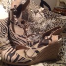 "Women's Zebra Stripe Fabric It's Ok LEAH 4"" Wedge Heel Shoes Cute! 13M"