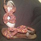 GUPPY LOVE BY BLOWFISH BROWN FLORAL FABRIC & LEATHER SANDALS WOMENS SZ 8.5M
