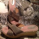 MERONA Womens Gold Criss Cross Basket Weave Platform Wedge Sandal Shoes 8M