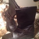BANDOLINO TISDALE DARK BROWN LEATHER BUCKLE MID CALF ZIP BOOTS SIZE 7M MRSP $99