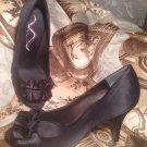 NINA EVELIXA PUMPS PEEP TOE RUFFLE DETAIL SATIN BLACK BRIDAL FORMAL SZ 8M Shoes