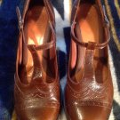 Nuture Women's Brown Leather Sz 8.5 AA  Top Stitching T Straps Heels Soft Insole