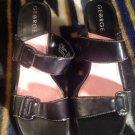 GEORGE Women Black Faux Leather Double Strap Buckle Slide Sandal Shoe SZ 6M