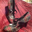 STYLE & CO WILMA WOMENS RED & BLACK PLAID MARY JANE HEELS SILVER BUCKLE 11M