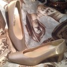 PRIVATE COLLECTION RECKLESS Women's PUMPS GOLD SHINY SATIN FORMAL SHOES MRSP $99
