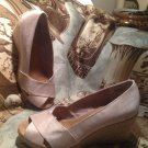 Women G H Bass & Co Shoes Wedge Espadrille Size 7M TAN PEEP TOE Platform Heels