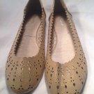 Wanted Tulip Women's Tan Ballet Flats With Cutouts Sz 9M Shoes Nice MRSP $70