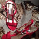 NEW CAPARROS WOMENS RED JEWELED BUCKLE 8.5B EVENING SHOES ANKLE SANDALS MRSP $89