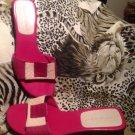 Women's Andrew Geller HIRED HOT PINK/PINK  Leather Low Heel Sandals SZ 7.5M