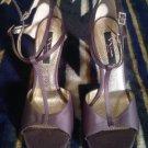NINA NEW YORK Women Gray Satiny Open T Strap Rhinestone Buckle Heels Shoe SZ 10M