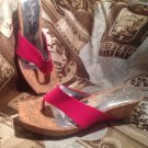 Jessica Simpson Vandy Patent PINK Leather Wedge  Sandals Size 7.5B Cork Sole