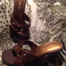 Liz Claiborne Women's 6.5M BROWN Leather Cris Cross Open Toe Sandal BLOCK Heel