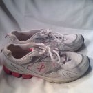 The Breast Cancer Site Running Athletic Shoes White Silver Pink SZ 11.5M COURAGE