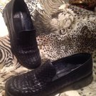 GLACEE BLACK Basket Weave Leather Women's Loafers Shoes Sz 8N Beautiful MRSP $64