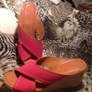 SONOMA Life + Style Women's Shemmy Red Criss Cross Platform Wedge Sandals 8.5M