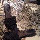 LIFE STRIDE Women's Turvey BLACK Weave Italy Shoes Sandals Sz 7.5M MRSP $65 EUC