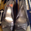 NICOLE LOTUS Womens GRAY Patent Wedge Heels Slingbacks Sandals Shoes 7M MRSP $69