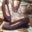 SALVATORE FERRAGAMO Gray Geometric Textured Suede Heel Pumps Women's SZ 7.5AA