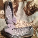 TRINKETS YOUTH ROUND TOE SHOES BALLET FLATS METALLIC SILVER BOW TOE SIZE 13M