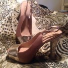 Forever Selected by  Paula Abdul Sling Back Peep Toe Gold SZ 10M NEW